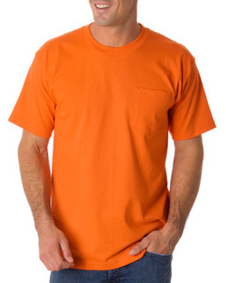 Bayside 1725 - 50/50 Blend USA Made Pocket Tee  (Bright Orange