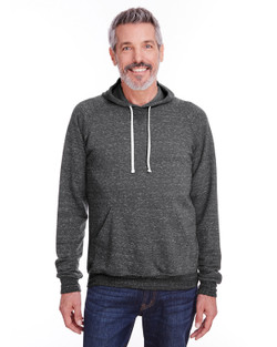 90MR - Jerzees Adult 7.2 oz., Snow Heather Raglan Hood  (Black Ink)