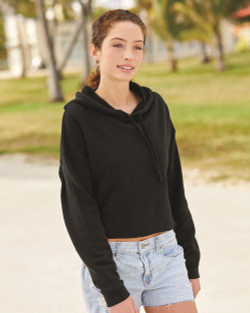 Independent Trading Co. - Women's Lightweight Cropped Hooded Sweatshirt - AFX64CRP  (Black)