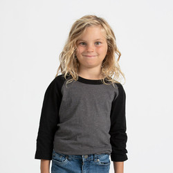 Tultex 245Y - Youth Raglan Tee  (Heather Charcoal/Black