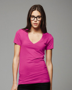 6035 Bella + Canvas Ladies' Deep V-Neck Cotton Jersey T-Shirt