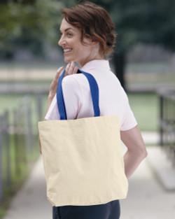 8868 LIBERTY BAGS MARIANNE COTTON CANVAS TOTE  (Natural/Royal)