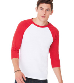 3200 Bella + Canvas Unisex Jersey 3/4 Sleeve Baseball Tee  (White/Red)