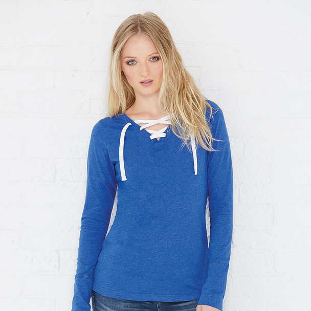 3538 LAT Ladies' Long Sleeve Lace-Up Fine Jersey Tee