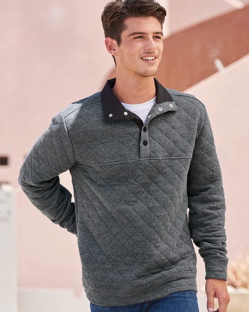 J. America - Quilted Snap Pullover - 8890  (Charcoal Heather)
