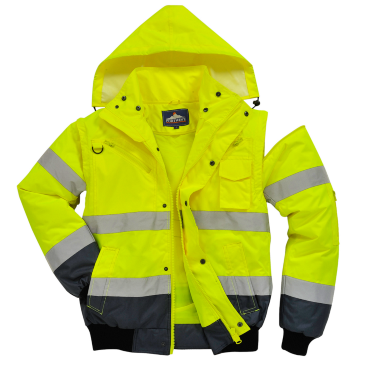 Portwest UC466 High Visibility Waterproof Bomber Jacket with Reflective Tape