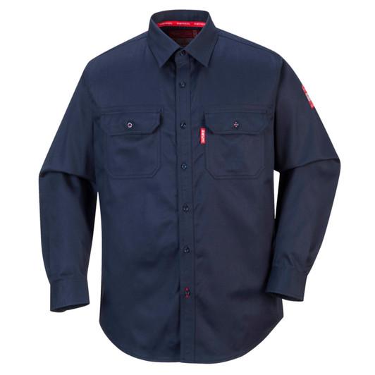 Portwest Bizflame Button Down Crew Neck Shirt Navy Blue Large FR02