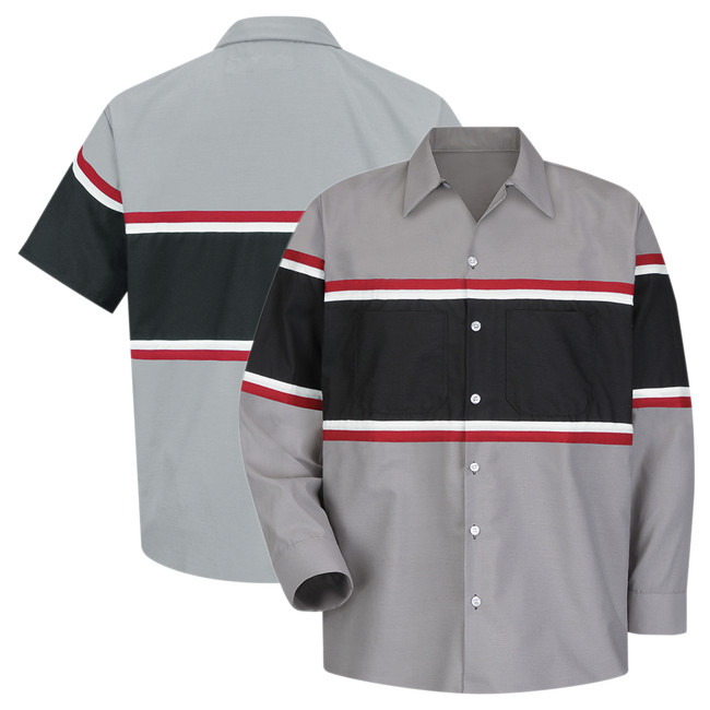 Red Kap Men's Performance Technician Shirt, Short or Long Sleeve, Grey/Black with Red and White Striping - SP24GM / SP14GM