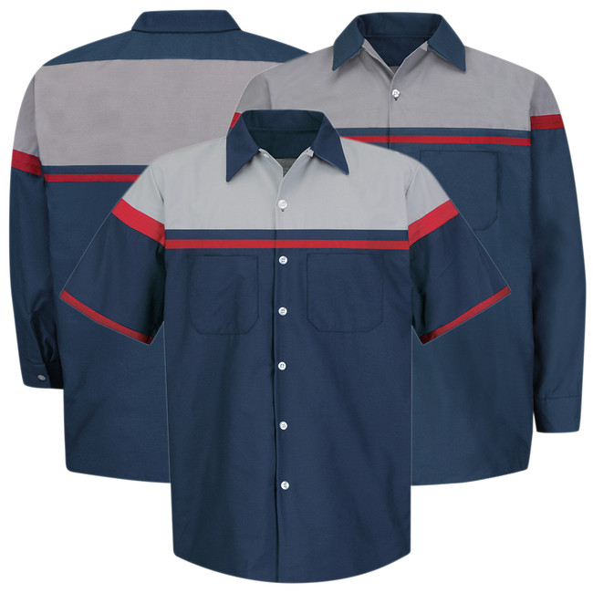 Red Kap Men's Technician Shirt, Short or Long Sleeve, Navy/Grey with Red Striping - SP24AC / SP14AC