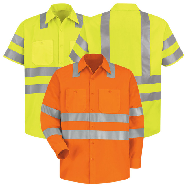 Red Kap Men's Hi-Visibility Polyester Work Shirt Type R Class 3 - SS24 / SS14 Fluorescent Yellow/Green Ripstop