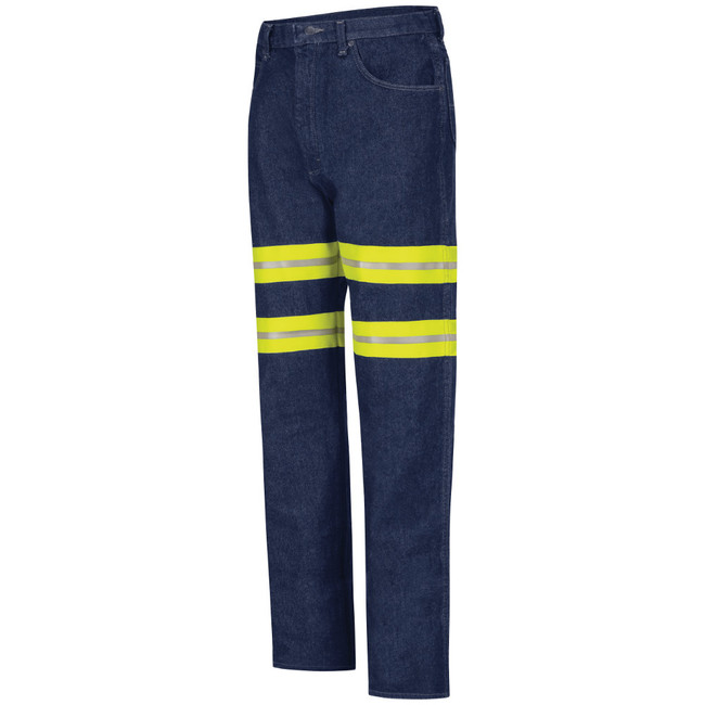 Red Kap Men's Enhanced Visibility Relaxed Fit Jean - PD60ED, Prewashed denim with Yellow/Silver Visibility Trim