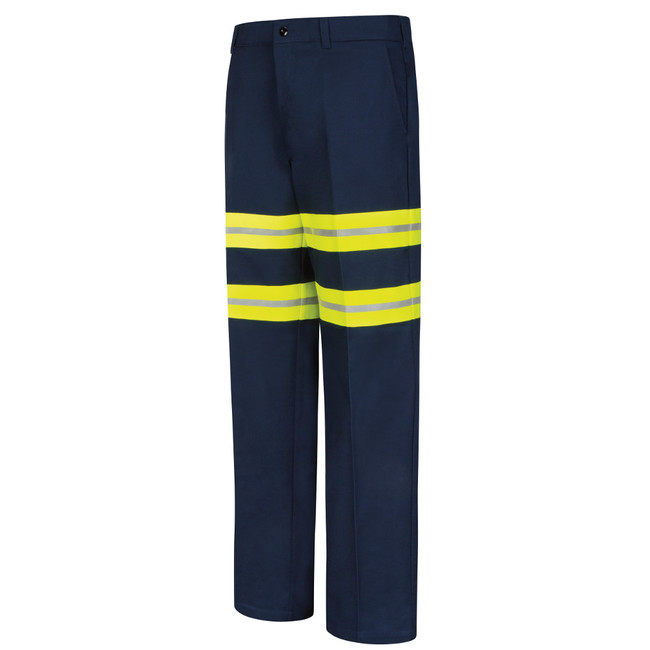 Red Kap Mens Enhanced Visibility Wrinkle-Resistant Cotton Pant - PC20EN, Navy with Yellow/Silver Trim