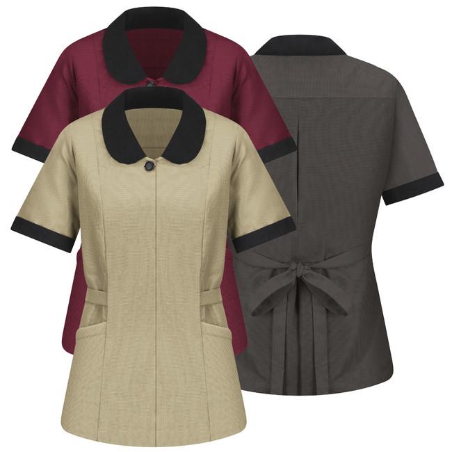 WOMEN'S LINDEN GREY MICROFIBER SHAWL COLLAR TUNIC 9K03 CopperstoneWorkwear.com