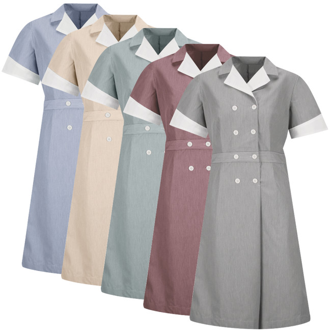 Women's Double-Breasted Lapel Dress for Housekeeping - 9S01