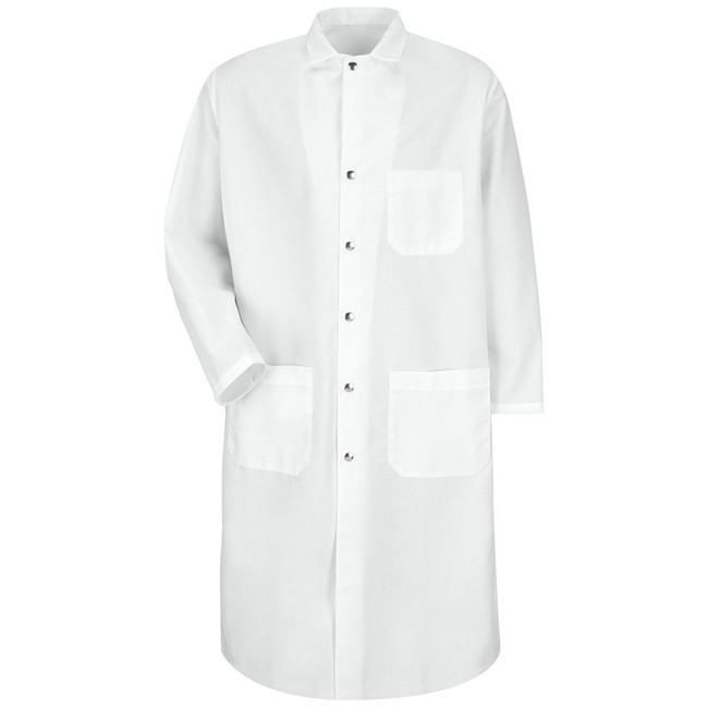 SNAP-FRONT SPUN POLYESTER BUTCHER COAT KS58WH CopperstoneWorkwear.com