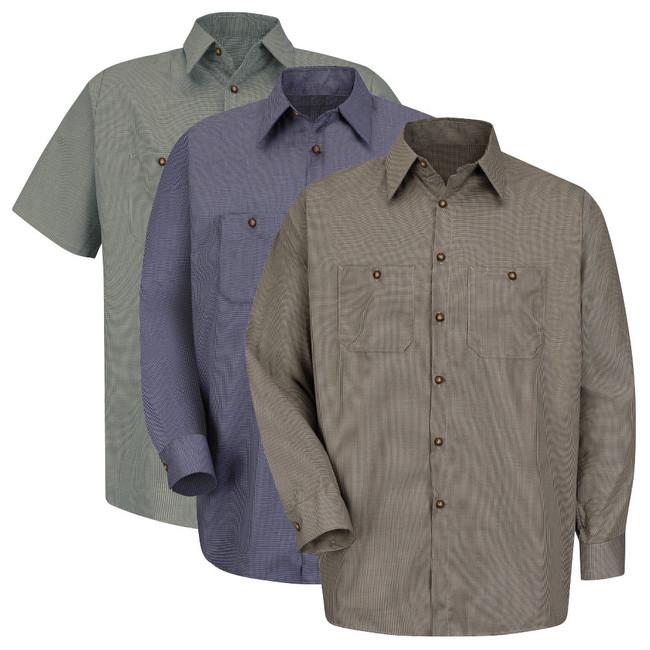 Red Kap Men's Microcheck Uniform Shirt - SP20 / SP10