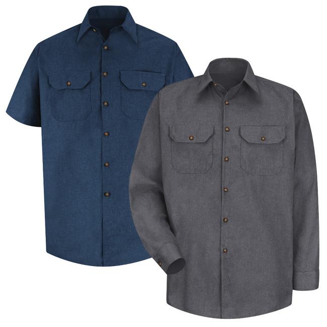 Red Kap Men's Heathered Poplin Uniform Shirt - SH20 / SH10