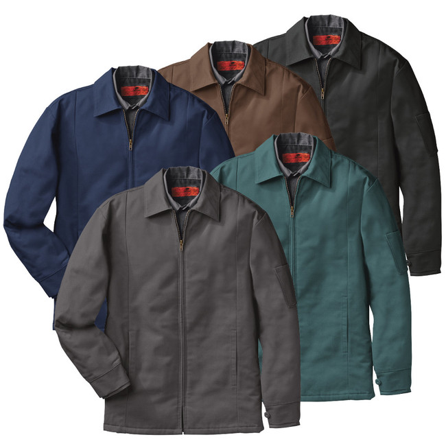 Red Kap Men's Perma-Lined Panel Jacket - JT50 Black Brown Charcoal Navy Green