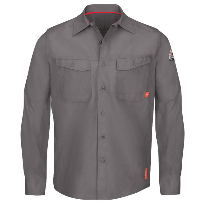 Bulwark Flame Resistant iQ Series Endurance Men's Work Shirt Grey - QS40GY Front View