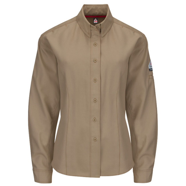 Bulwark FR Flame Resistant iQ Series Endurance Women's Shirt - QS41 Khaki Long Sleeve
