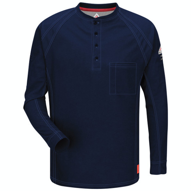 Bulwark FR Flame Resistant iQ Series Comfort Knit Long Sleeve Henley - QT20 Dark Blue Front View