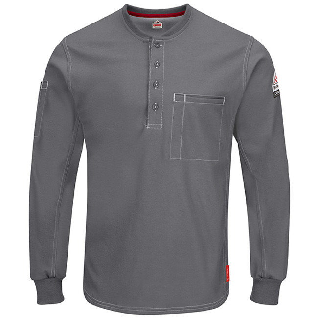 Bulwark FR iQ Series Comfort Plus Knit Long Sleeve Henley - QT40 Charcoal