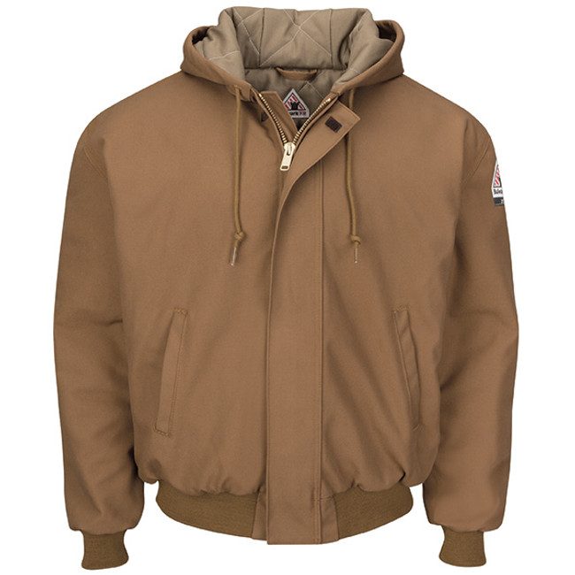 Bulwark FR Flame Resistant Insulated Brown Duck Hooded Jacket - JLH6