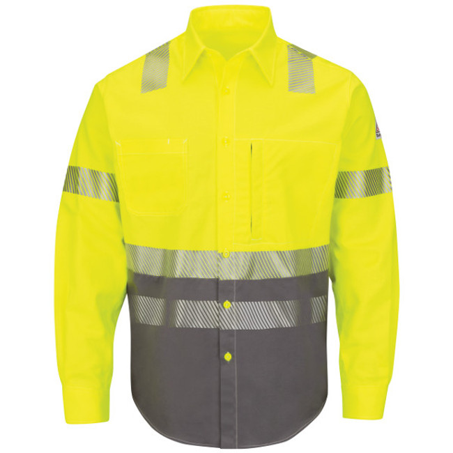 Bulwark FR Flame Resistant Hi-Visibility Color-Block Uniform Shirt - SLB4