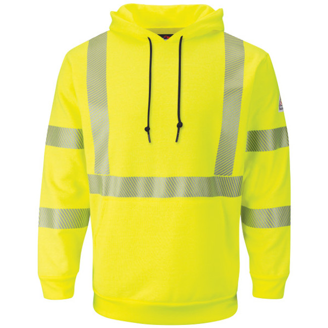 Bulwark FR Flame Resistant Hi-Visibility Pullover Hooded Fleece Sweatshirt - SMH4