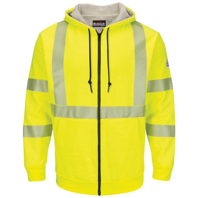 Bulwark FR Flame Resistant Hi-Visibility Zip-Front Hooded Fleece Sweatshirt with Waffle Lining - SMZ4