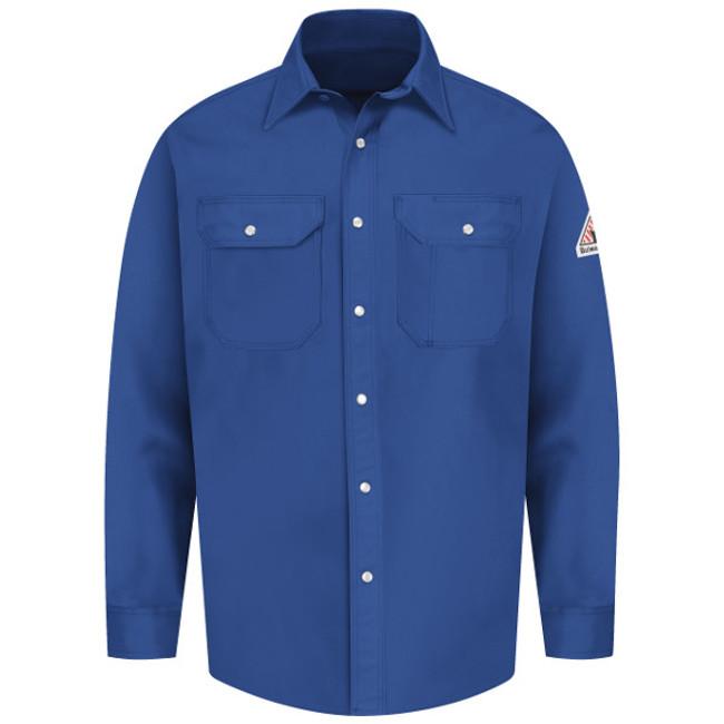 Bulwark FR Flame Resistant Snap-Front Uniform Shirt - Excel FR - SES2 Royal Blue Long Sleeve