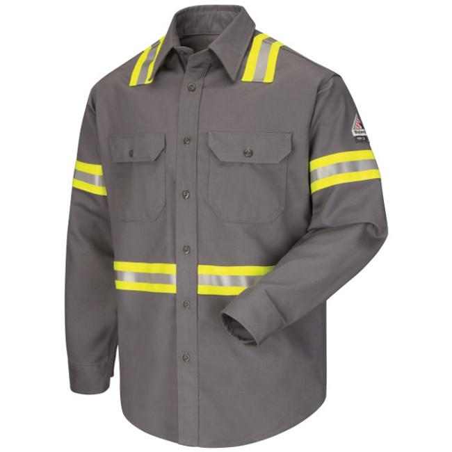 Bulwark FR Flame Resistant Enhanced Visibility Uniform Shirt - 7oz Excel FR ComforTouch - SLDT Grey