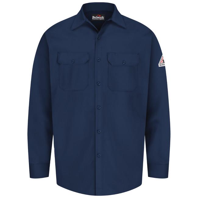 Bulwark FR Flame Resistant Work Shirt - Excel FR - SEW2 Navy Long Sleeve