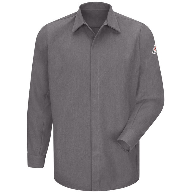 Bulwark FR Flame Resistant Concealed-Gripper Pocketless Shirt - CoolTouch 2 - SMS2 Grey Long Sleeve