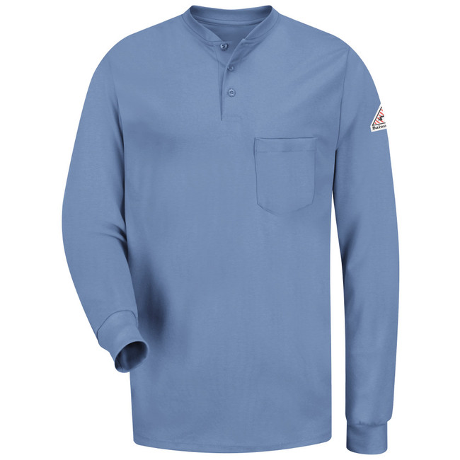 Bulwark FR Flame Resistant Long Sleeve Tagless Henley Shirt - Excel FR - SEL2 Light Blue Front View