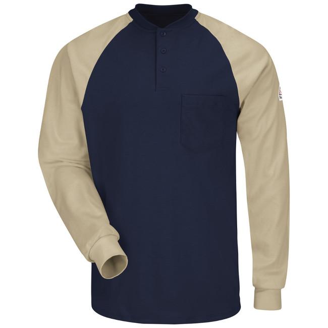 Bulwark FR Flame Resistant Long Sleeve Color-Block Tagless Henley Shirt - Excel FR - SEL4 NK Front View