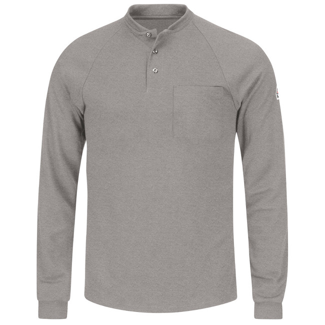 Bulwark FR Flame Resistant Long Sleeve Henley Shirt- CoolTouch 2 - SML2 Grey Front View