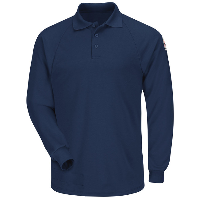 Bulwark FR Classic Long Sleeve Polo - CoolTouch 2 - SMP2 Navy Front View