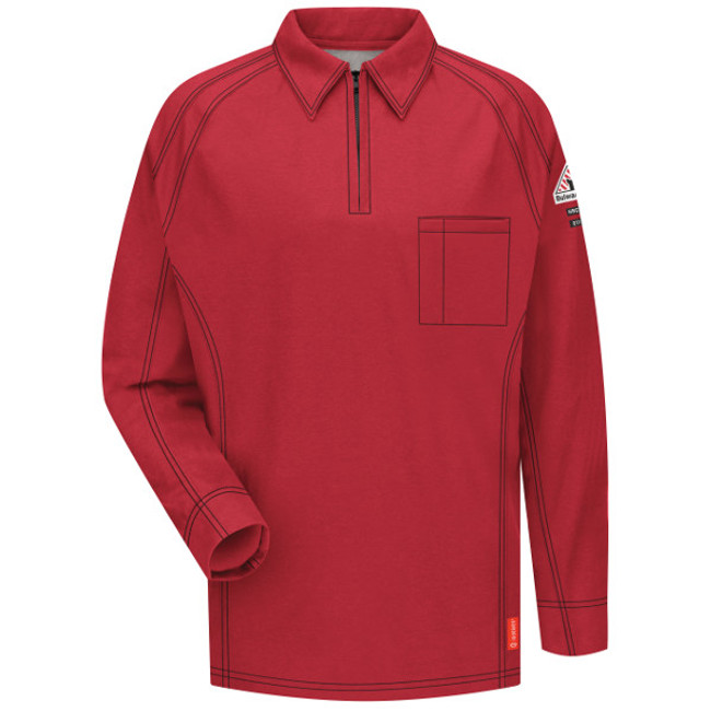 Bulwark FR iQ Series Long Sleeve Polo - QT12 Red Front View
