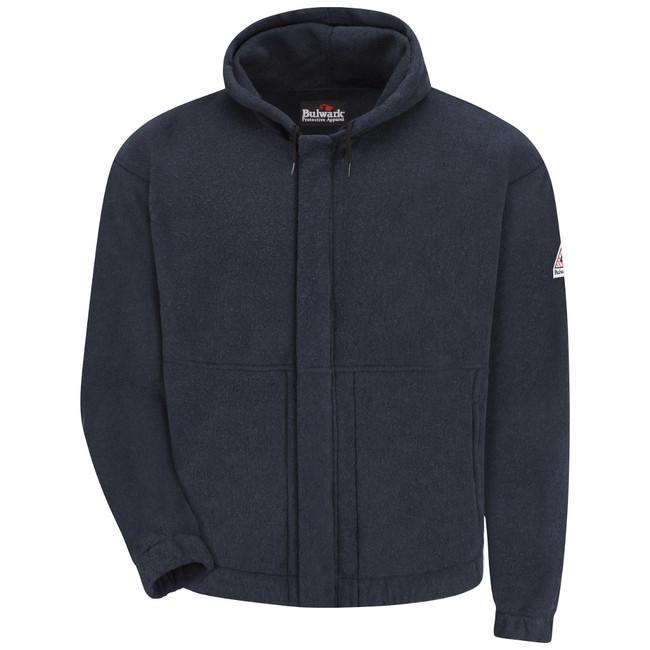 Bulwark FR Flame Resistant Zip-Front Hooded Fleece Sweatshirt - SMH6 Navy