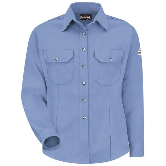Bulwark FR Flame Resistant Women's Dress Uniform Shirt - CoolTouch 2 - SMU3 Light Blue