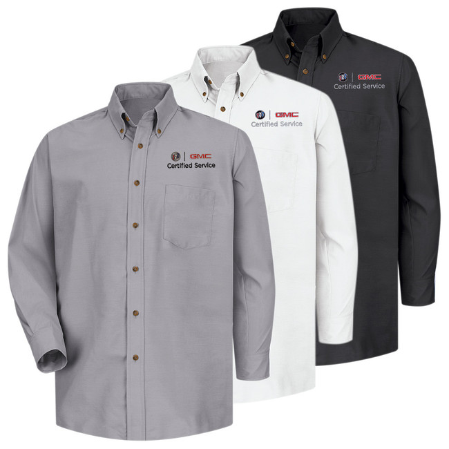 Buick GMC Men's Long Sleeve Poplin Dress Shirt in 3 color Options.