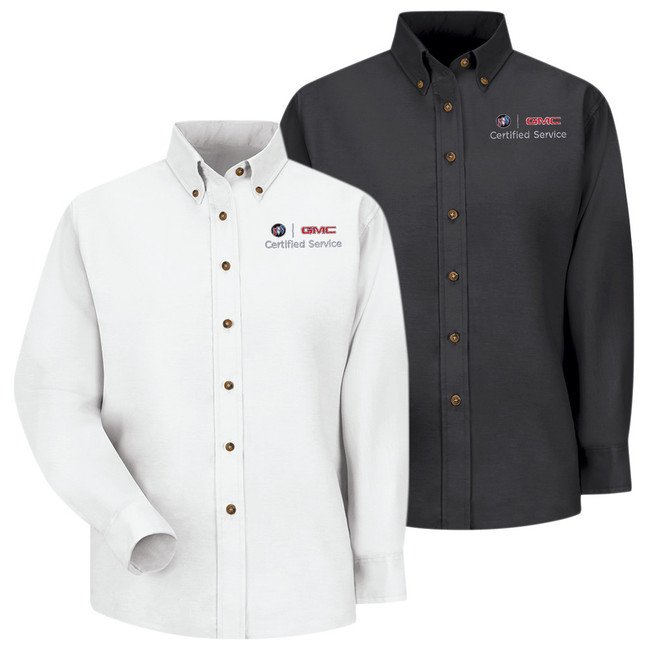 Buick GMC Women's Long Sleeve Poplin Dress Shirt in 2 color Options.