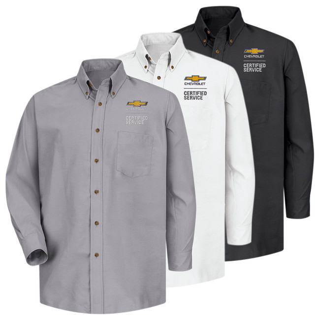 Chevrolet Men's Long Sleeve Poplin Dress Shirt in 3 color Options.