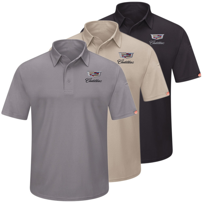 Cadillac Men's Performance Knit Polo in 3 colors Grey Tan Black