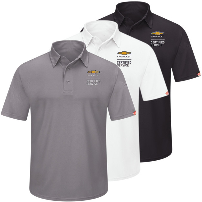 Chevrolet Men's Performance Knit Polo in 3 colors Grey White Black