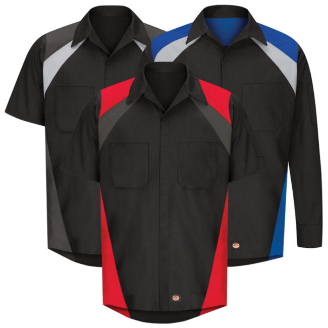 Red Kap Tri-Color Automotive Shirt - SY28 / SY18 - Long Sleeve or Short Sleeve & 3 color options