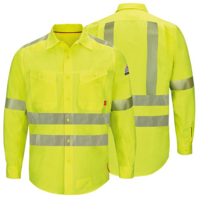 Bulwark FR Flame Resistant iQ Series Men's Endurance Hi-Visibility Work Shirt - QS40HV High Visibility