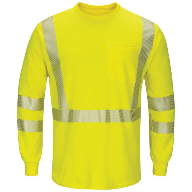 Bulwark FR Flame Resistant Hi-Visibility Lightweight Long Sleeve T-Shirt - SMK8HV