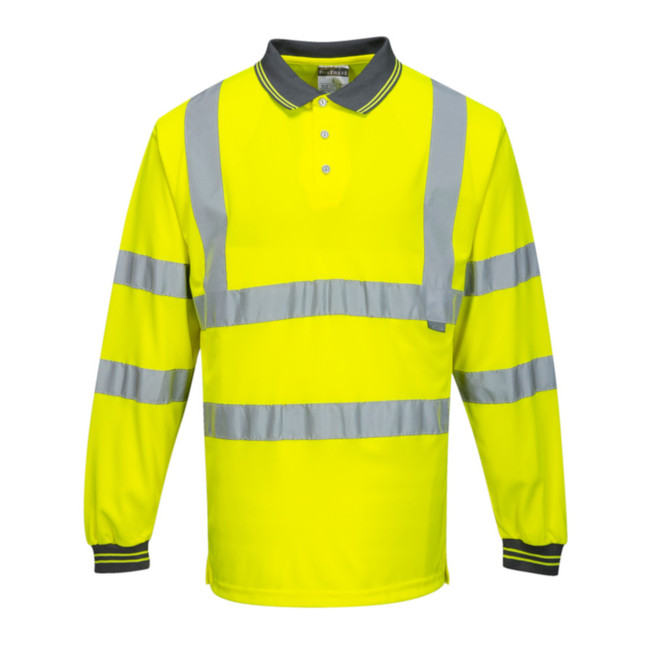 Portwest Hi-Vis Long Sleeved Hi Vis Polo - S277 Yellow with Reflective Trim